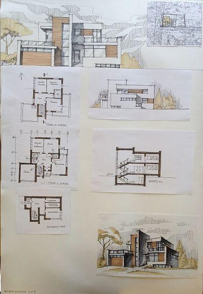 Denah dan desain rumah modern minimalis · architektonische präsentationgrundrissegrafikenzeichnungenschautafelnhausplänemoderne häuserhaus designarchitektur