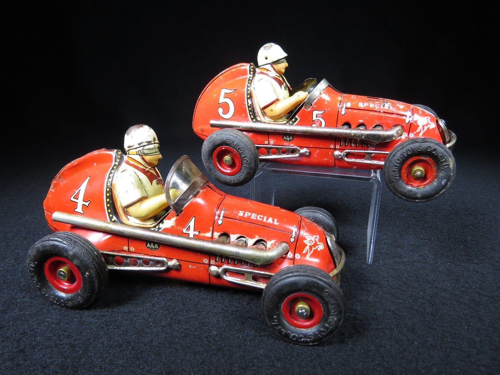 RARE PAIR of 2 INDY SPECIAL MIDGET RACE CAR TIN FRICTION E ...