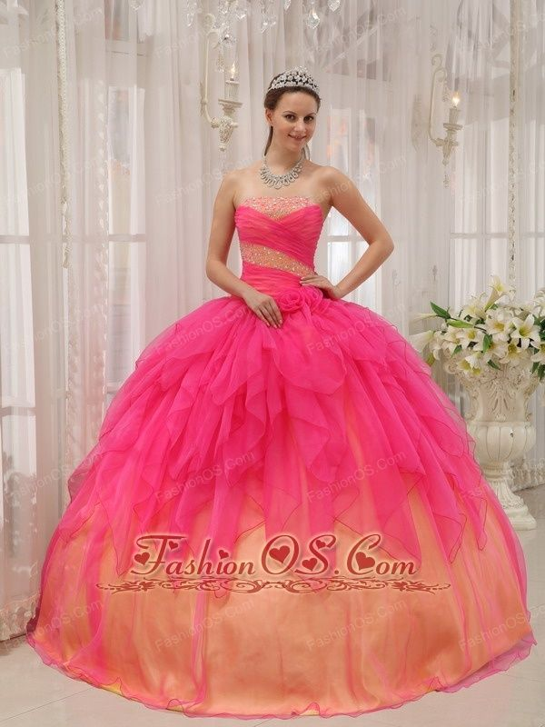 edcb1dad0ed Discount Hot Pink Quinceanera Dress Strapless Organza Beading Ball Gown  http   www.