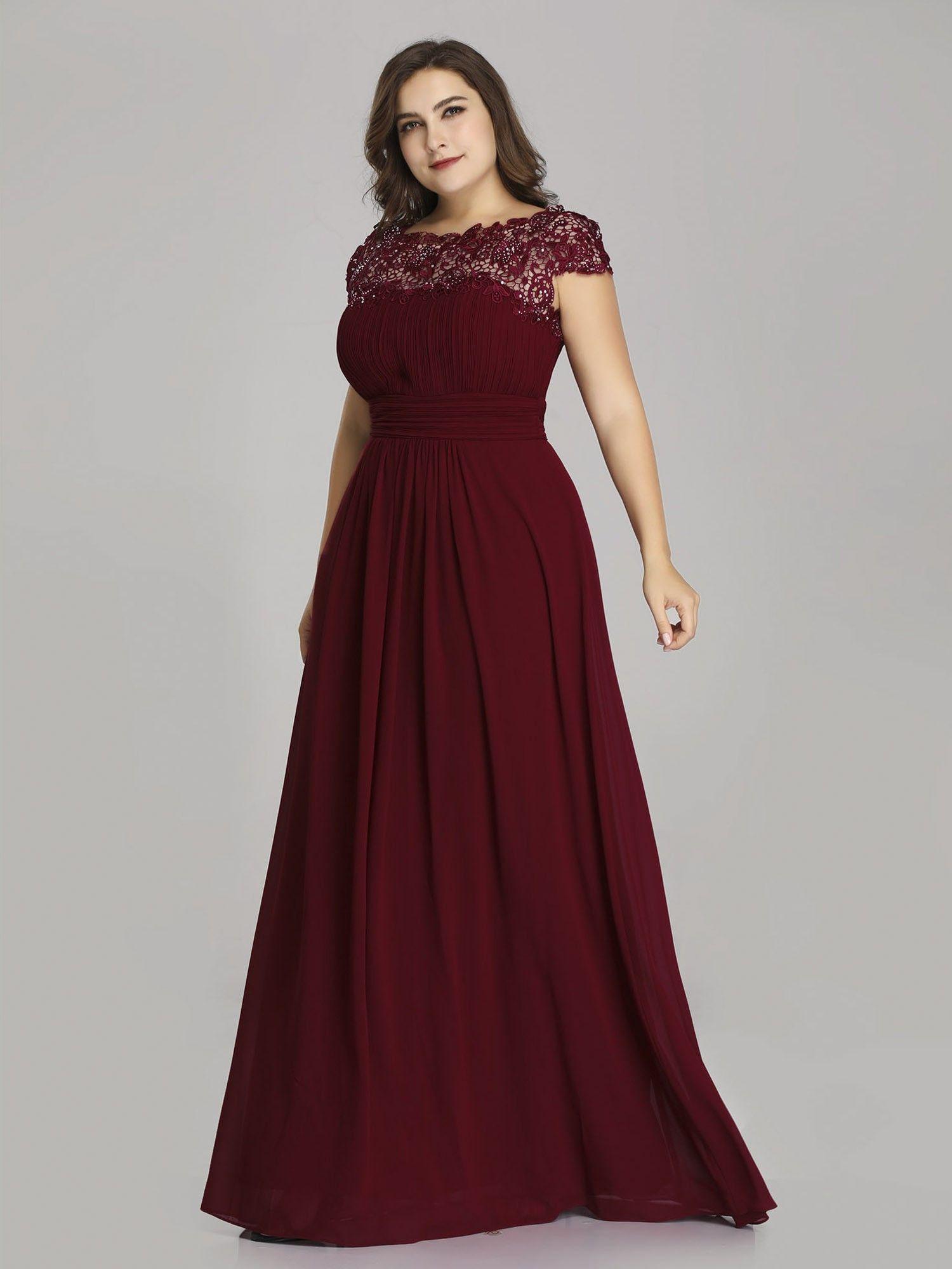Maxi Long Lace Cap Sleeve Elegant Plus Size Evening Gowns Burgundy Bridesmaid Dresses Plus Size Evening Gown Bridesmaid Dresses Long Lace