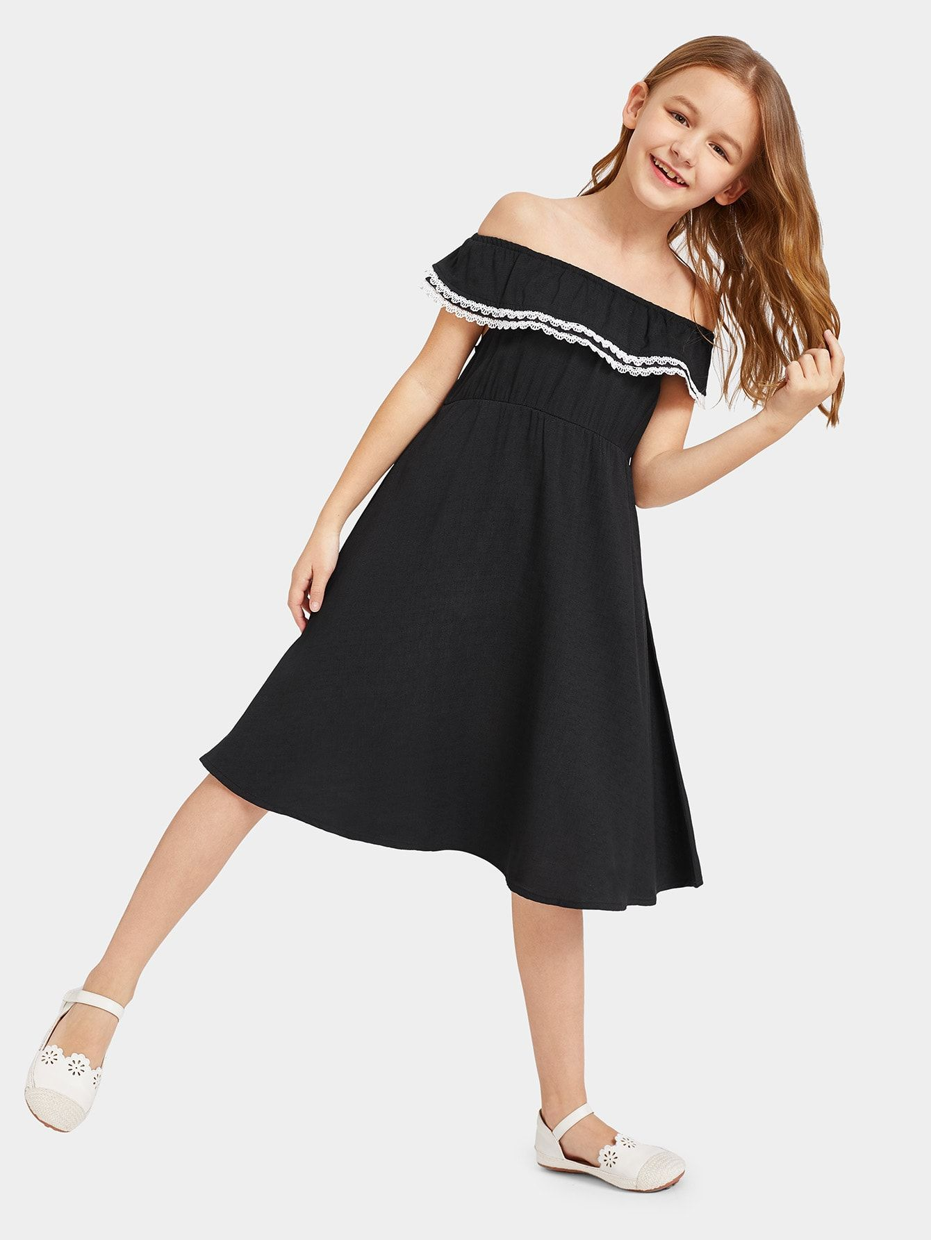 Girls Lace Trim Ruffle Off Shoulder Dress #Sponsored , #Ad, #Trim