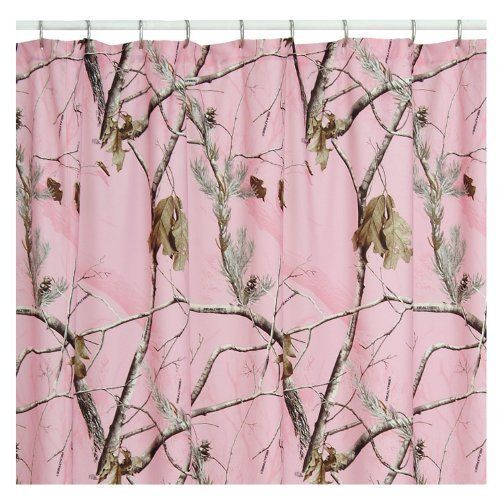 Pink Camo Realtree Shower Curtain Cotton Poly Blend Hunt Hunter Camp Mud Girls
