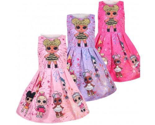 Kids Girls Lol Surprise Dolls Dress Slim A Line Birthday Party Dresses 3-10Years