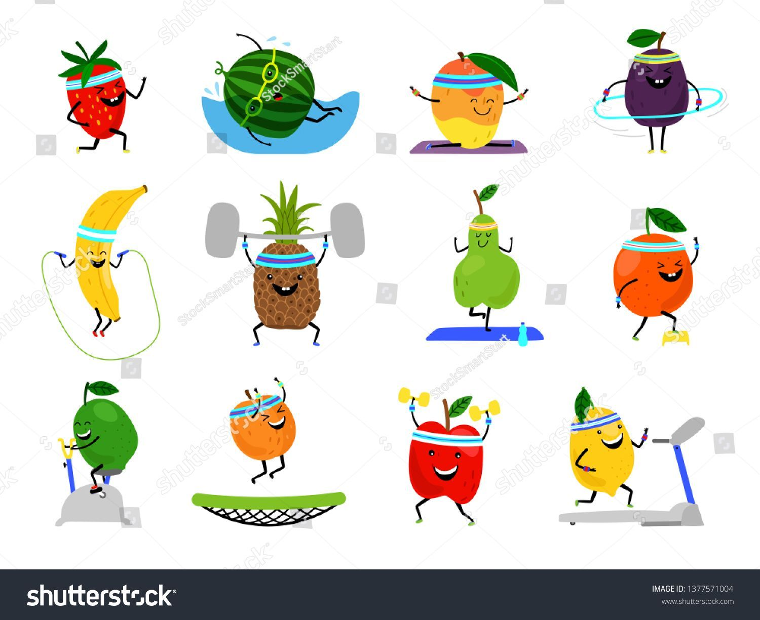 Sport Fruits Characters Funny Fruit Foods Stock Vector (Royalty Free) 1377571004  Sport fruits characters. Funny fruit foods on sport exercises, fitness vitaminic human healthy nutr #characters #Foods #Free #fruit #fruits #Funny #Royalty #Sport #Stock #Vector