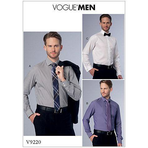 Vogue Men\'s Shirt Sewing Pattern, 9220