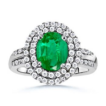 Angara Diamond Framed Natural Emerald Engagement Ring in Yellow Gold KVweFIT6Bf