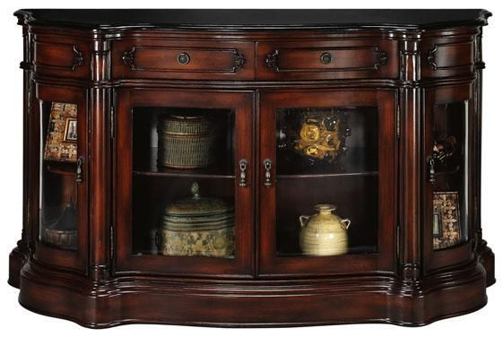 Baymont 4 Door Console With Glass Doors Console Tables Living Room Furniture Furniture Homedeco Glass Door Home Decorators Collection Livingroom Layout Console table with glass doors