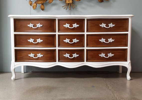 Lacquer Solid Wood French Provencial Dresser By DuBarry Of Dixie Furniture