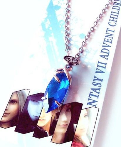 Anime Final Fantasy Yuna Blue Crystal Gem Pendant Necklace Cosplay Unisex Toy