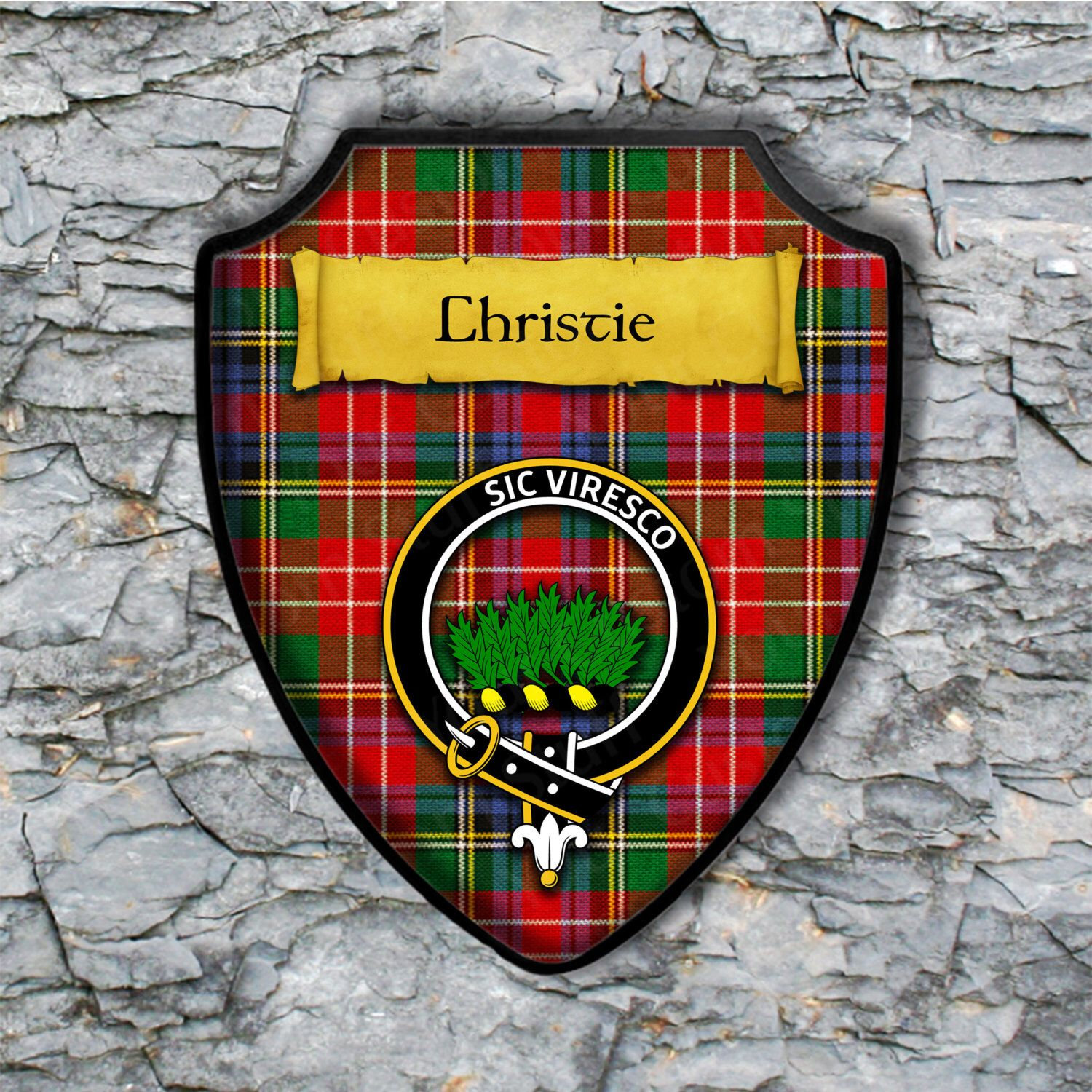 Christie of Shield with  Scottish Arms Clan Plaque Coat