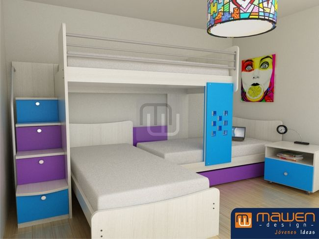 dormitorio para tres hermanos - Buscar con Google | decoracio ...