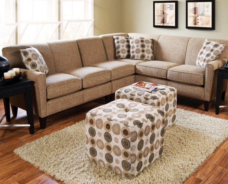 Brown Sectional Sofa With Polkadot Pillow Also Ottoman Coffee Table On Cream Fur Rug And Laminated Wooden Floor Round Sofas