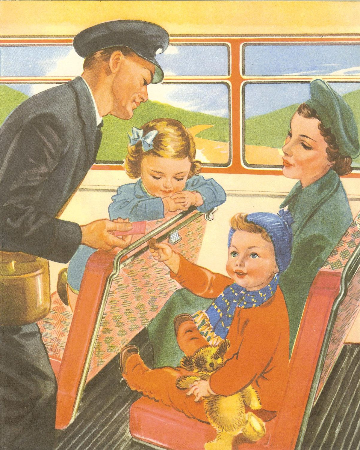 Vintage 1950s Childrens Print - Toddler Paying Bus Conductor For ...