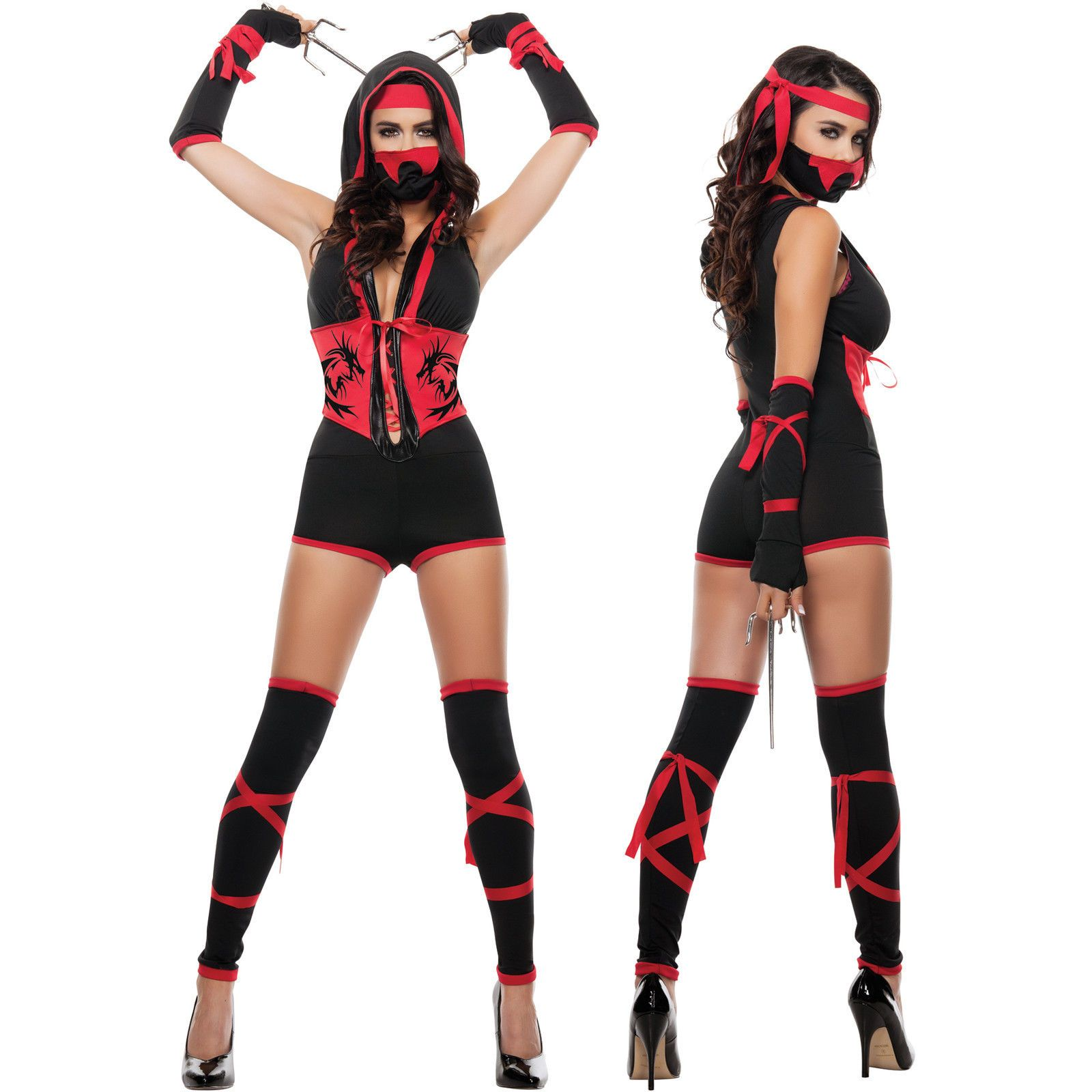 Sexy Womens Black Naughty Cosplay Video Game Ninja Hottie Halloween Costume