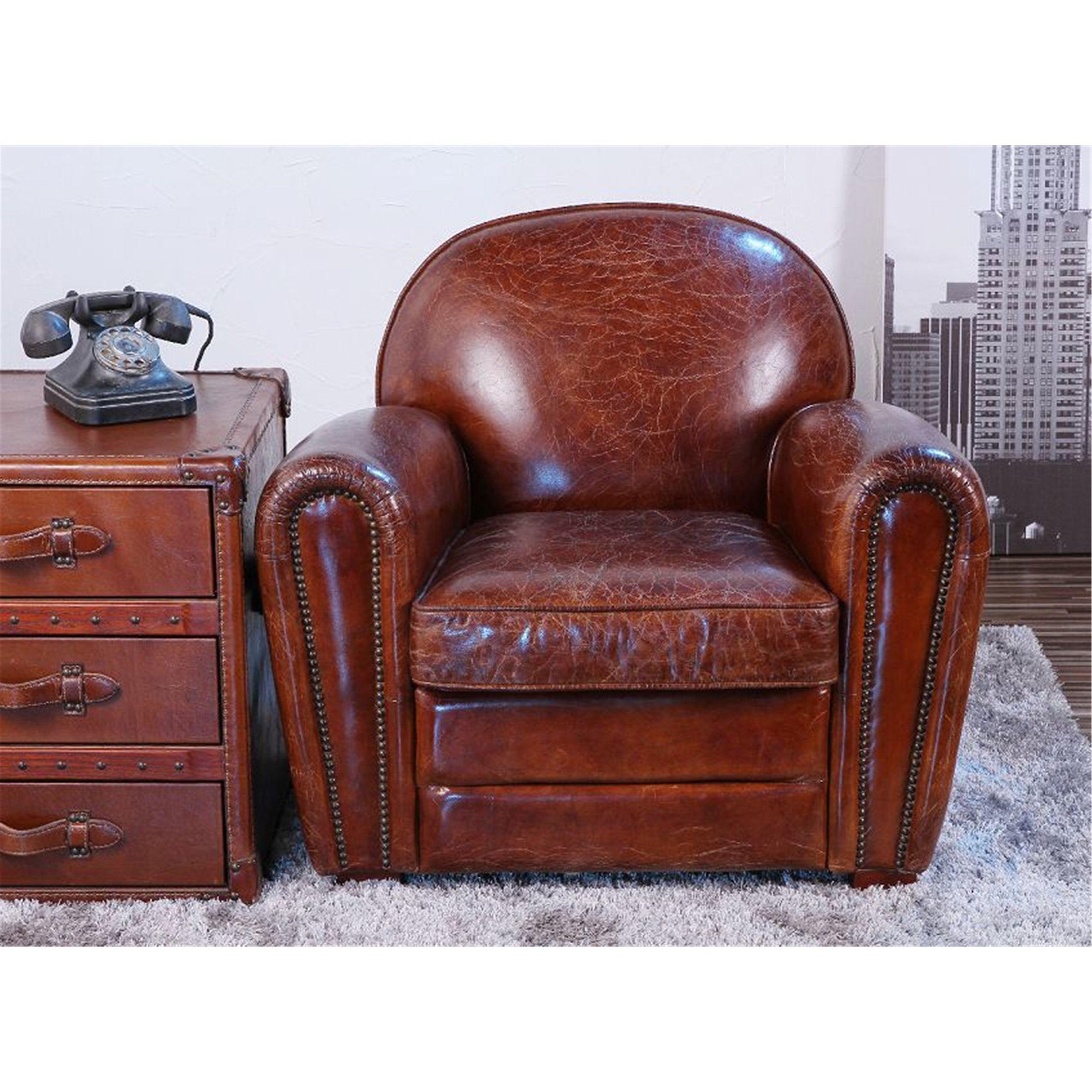 Black leather club chair nailhead - Leather