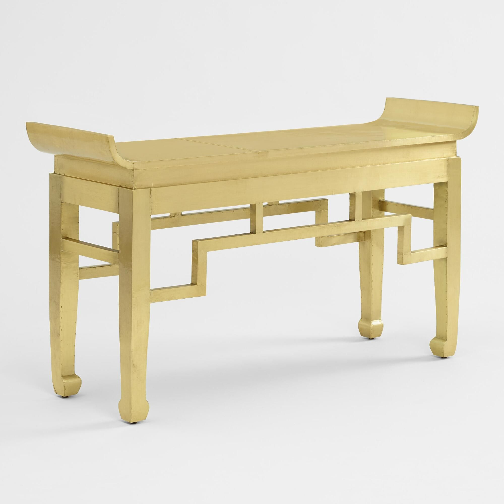 Metal Clad Asian Inspired Console Table Console Table