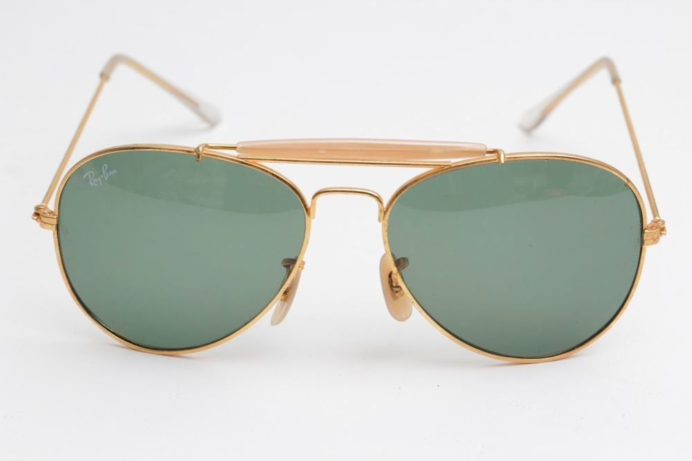 2e6bbaaab Vintage Ray Ban Aviator Outdoorsman 62 Gold,Mother of Pearl, 80's,Large,BL