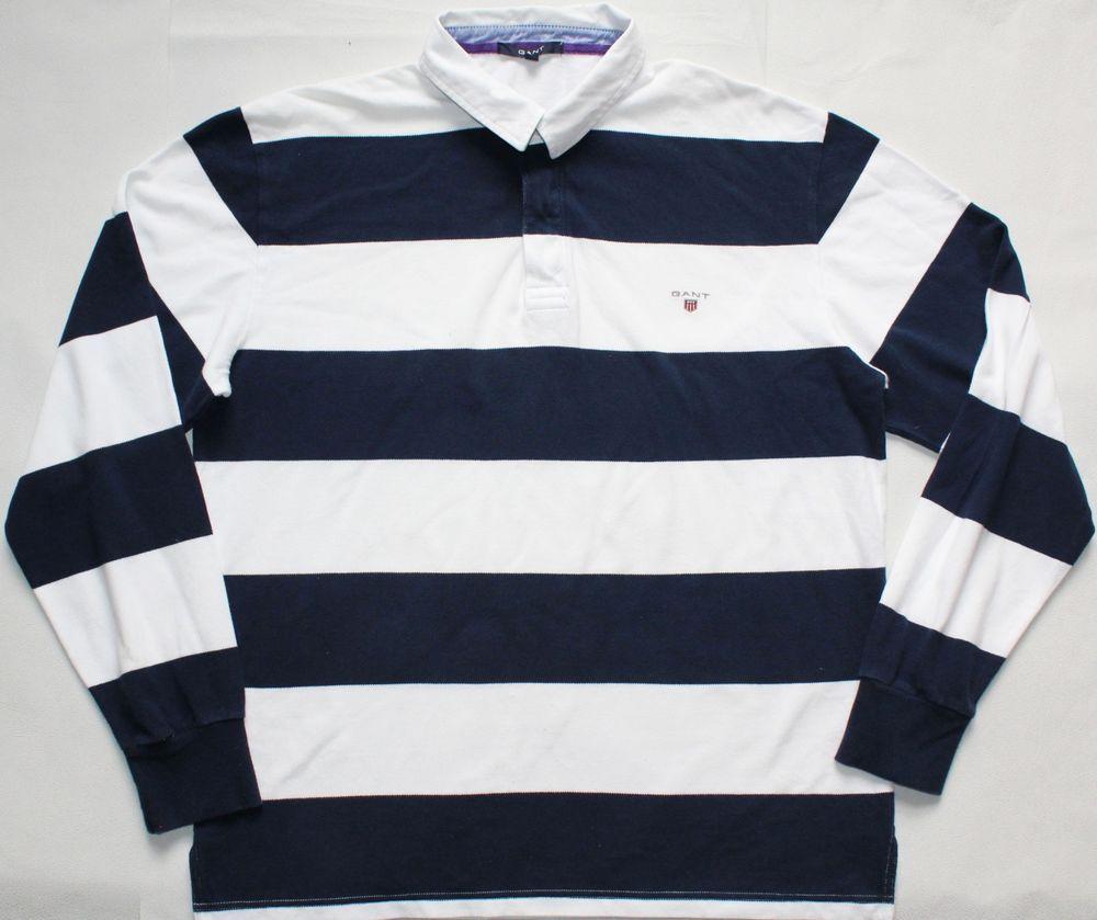 Gant Rugby Polo Shirt 2xl Size Xxl Blue White Striped Mens Jumper Mens Jumpers Polo Shirt Long Sleeve Polo Shirt