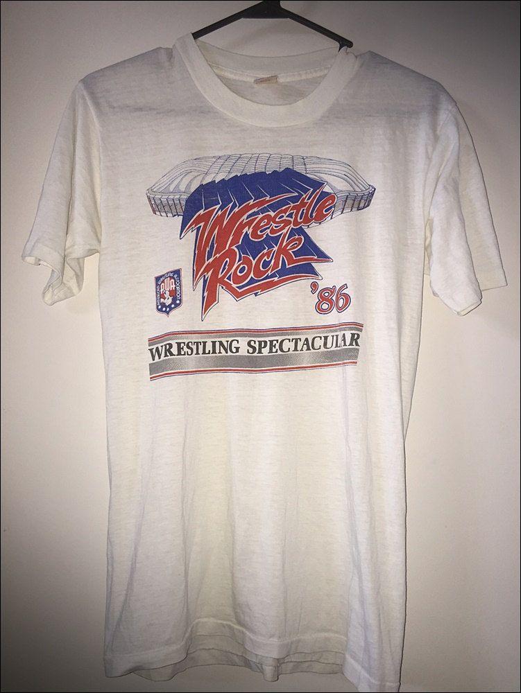 Vintage 80's AWA Wrestling Wrestle Rock 1986 Shirt Size