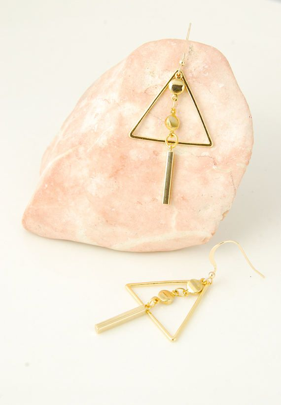 Triangle Dangle Earrings Gold Bar Earrings Minimalist Earrings