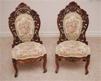 2 Belter Parlor Chairs : Featuring 2 Belter Rosalie Wood Patern ladies Chairs In excellent condition with no damage of any kind. These chairs have been reupholstered and restored with this fabric that fits the chairs perfectly. The Chairs are an amazing original pattern that would be a perfect addition for any collector. This pair of Belter floral ladies chairs are made of Rosewood Lamanite and has all casters on the feet of the chairs.