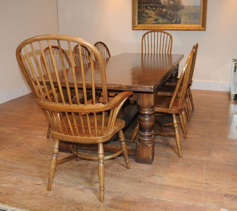 Oak Kitchen Refectory Table and Set Windsor Chairs  Farmhouse