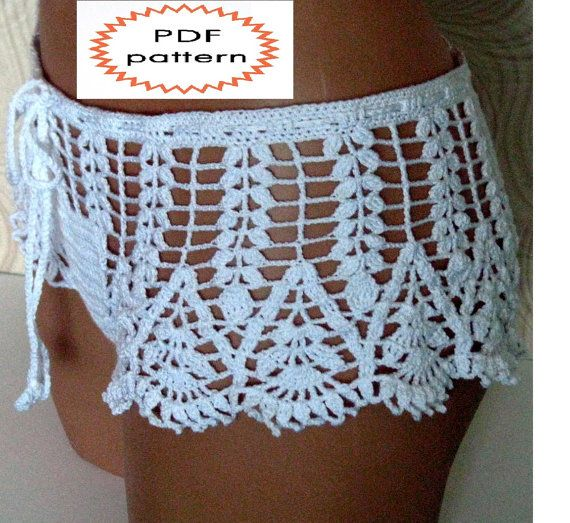 Pattern crochet white beach shorts, shorts for summer, pattern beach ...
