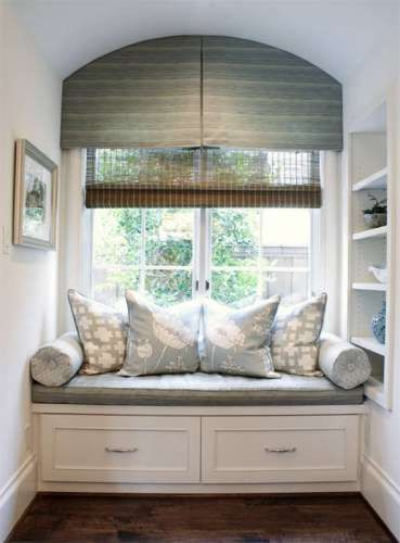 Window Seat With Custom Cushion Pillows And Valance