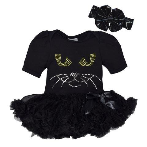 Unique Baby Girls Halloween Black Cat Bodysuit with Tutu and Matching Headband