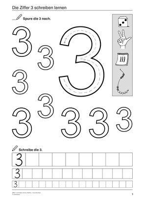 Ziffer 3 schreiben lernen, Mathematik, 1. Klasse und Vorschule Mehr