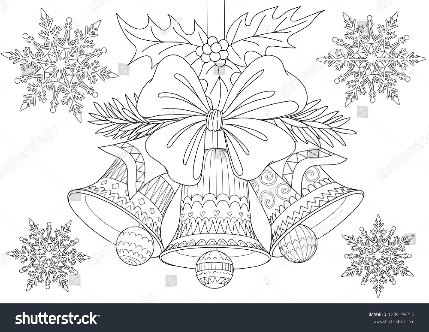 Beautiful Christmas Bells Bow And Leaves With Falling Snowflakes For Cards Illustration And Coloring Bo Christmas Bells Drawing Coloring Books Christmas Bells