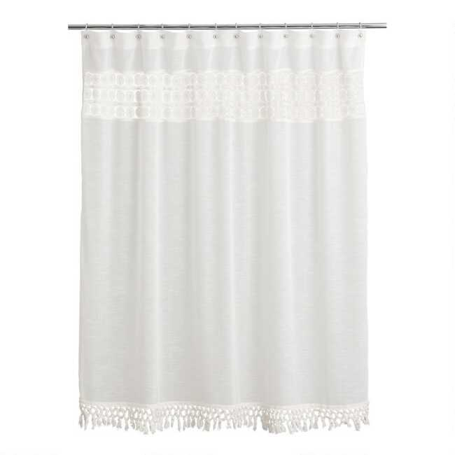 Ivory Crocheted Alessandra Shower Curtain With Tassels Tassel