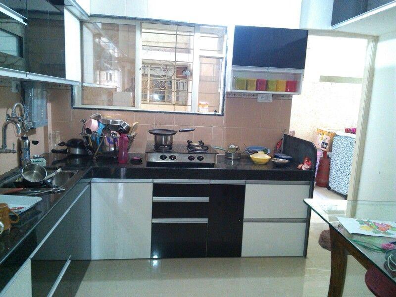 L shaped Modular kitchen, open wall unit, Black & white ...