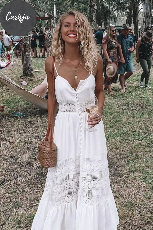 Lyra - Boho Maxikleid Mit Spitze in 10  Weißes kleid outfit