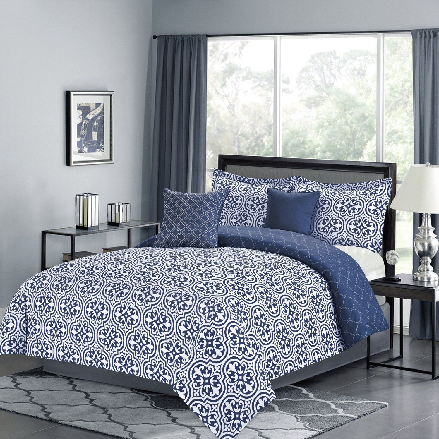 Amazon Queen forter 5 Pc Bedding Set Vintage Navy Blue