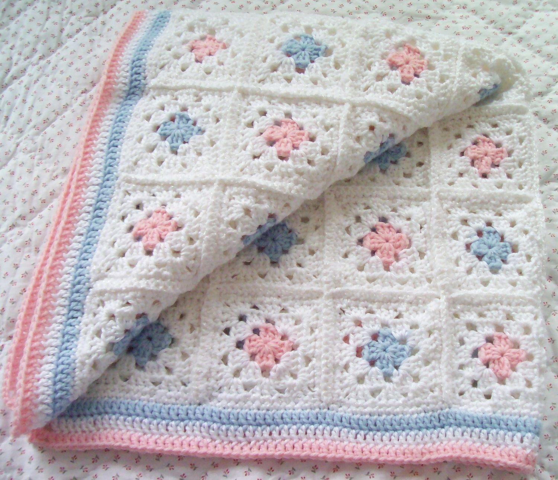 VENTA Abuela Plaza manta de ganchillo manta de bebé rosa | ansiedad ...
