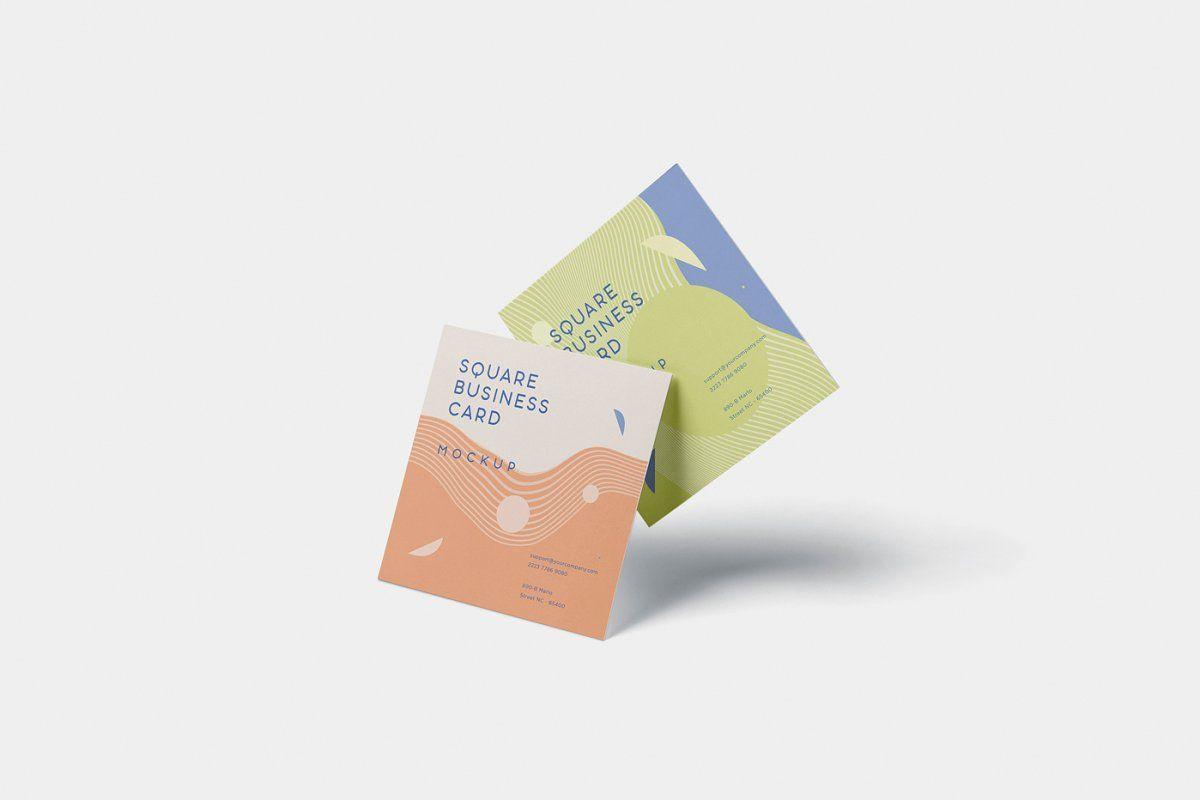 Business card mockup square format business card mock up