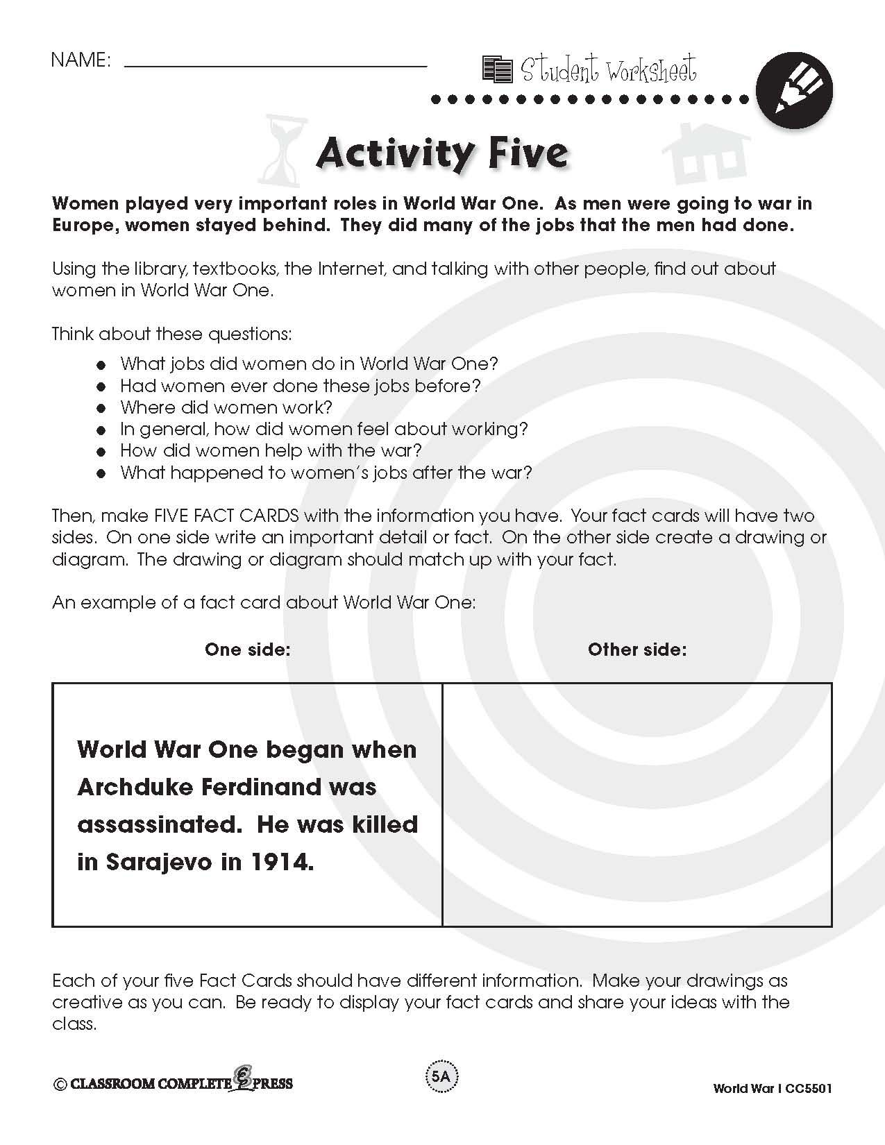 Create Fact Cards For The Women Who Played An Important Role In World War I With This Free Activity From Ccp Interactive Social Studies Lesson Military History