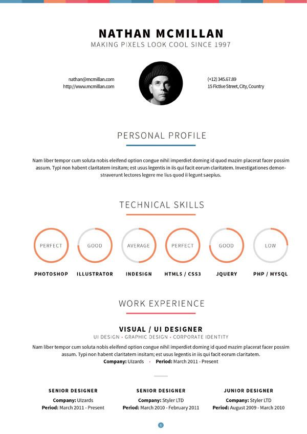 Creative cv Brands Pinterest Creative cv, Cv template and - example of a one page resume