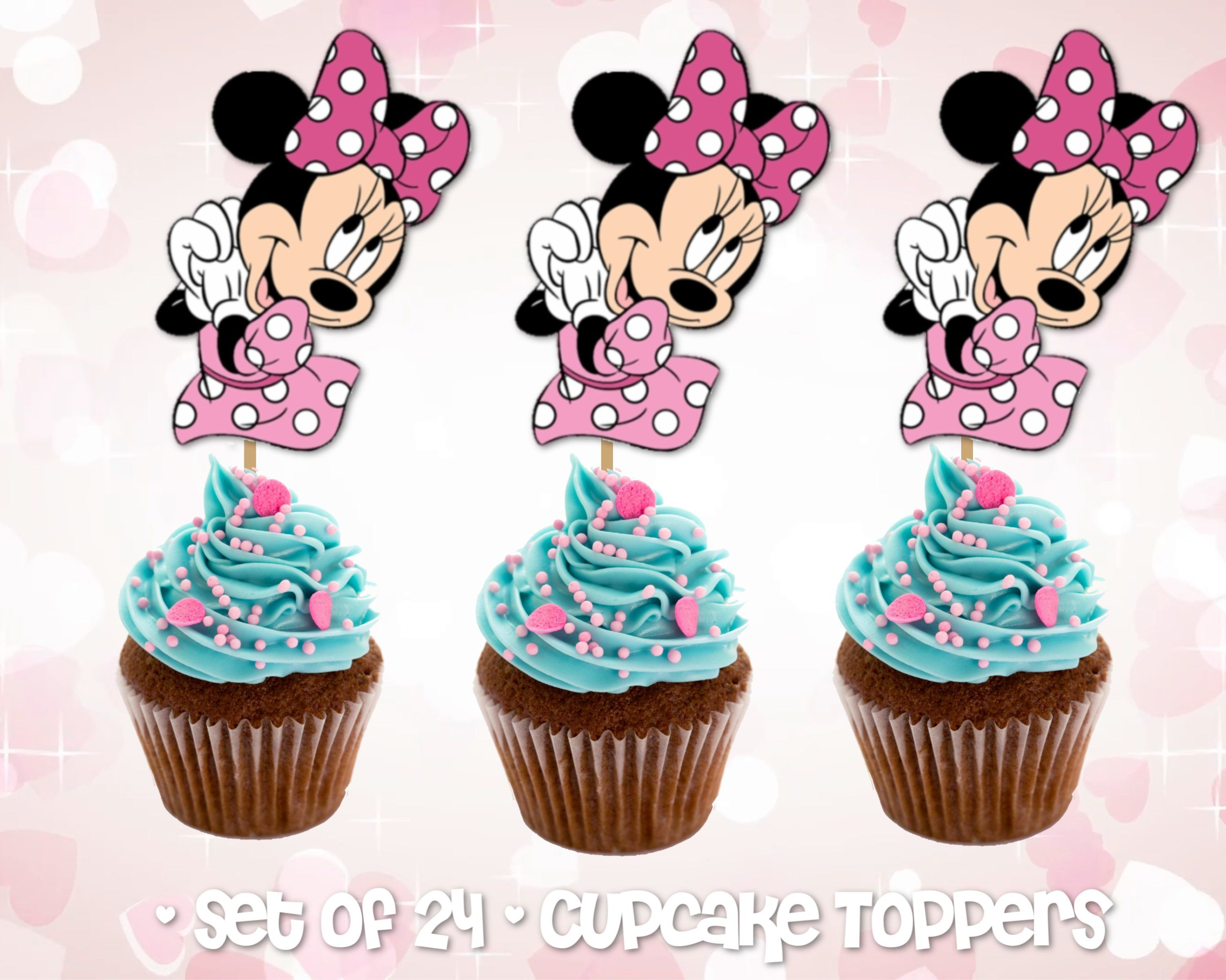 Groovy Set Of 24 Minnie Mouse Cupcake Toppers Minnie Mouse Cupcake Funny Birthday Cards Online Necthendildamsfinfo