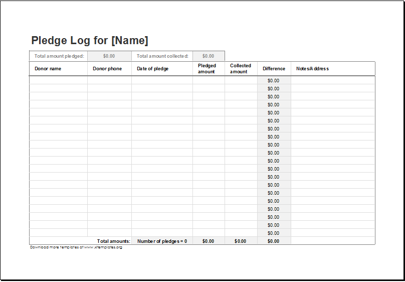 Donation Pledge Log Template Download At Http://Www.Xltemplates