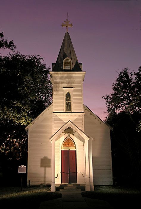Goliad Texas Night By John B Chandler Church Steeple Country Church Old Country Churches