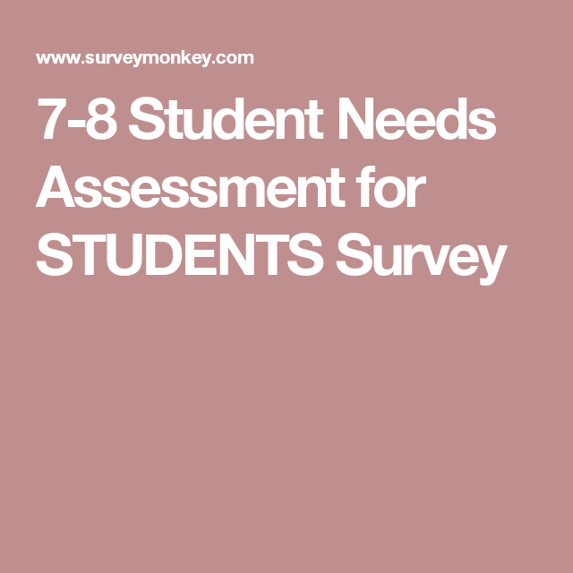 7 8 Student Needs Assessment For Students Survey Student Survey
