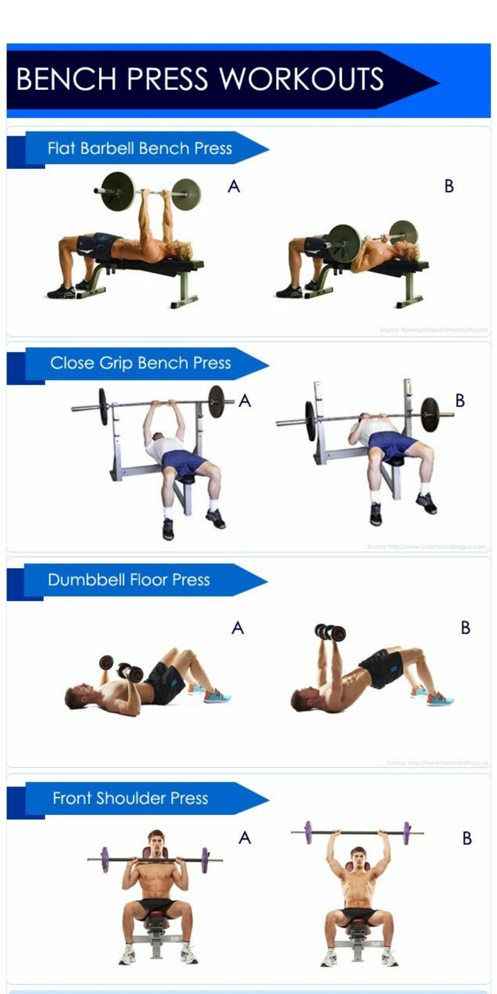 Bench press workout exercises with bench workout