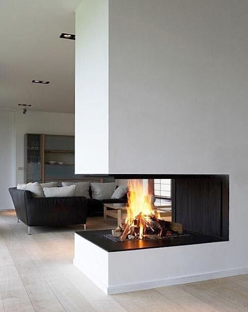 Ideas of Decorating a Room Using 3 Sided Gas Fireplace: Recessed Lighting With 3 Sided Gas Fireplace And Corner Sofa Also Wall Units And Wood Flooring Plus Coffee Table For Family Room Ideas