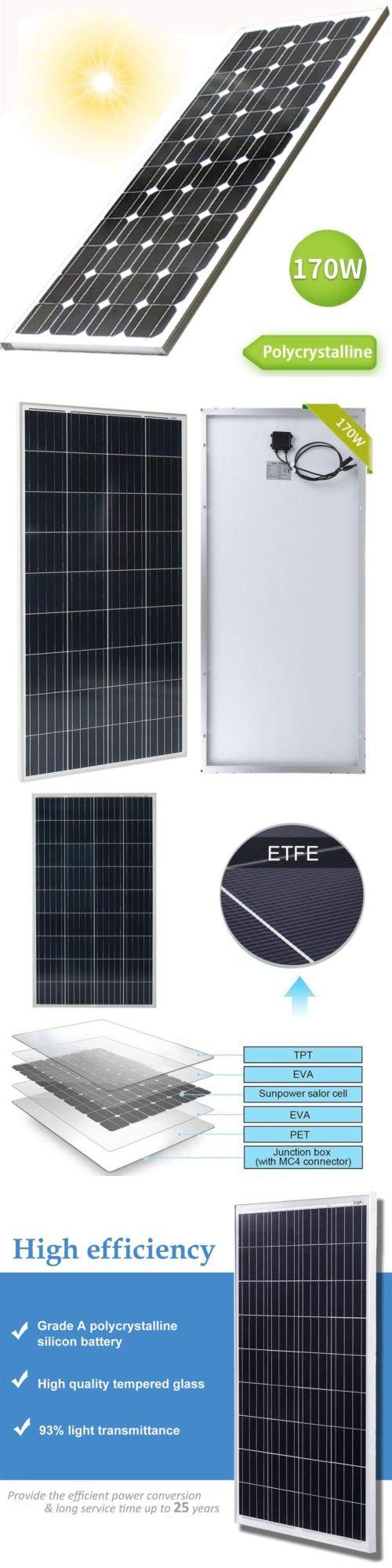 Alternative And Solar Energy 41979 12v 170w Polycrystalline Solar Panel Off Grid Battery Charge Rv Boat Ou Solar Panels Solar Panel Battery Off Grid Batteries