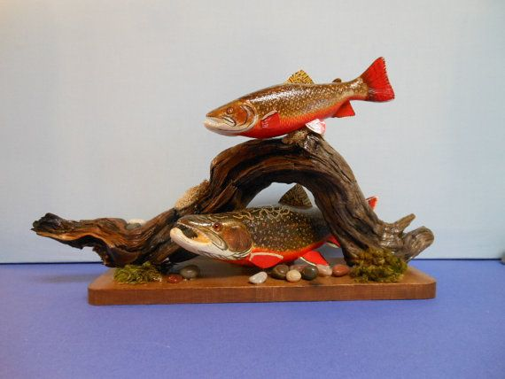 Brook trout hand carved wood sculpture fish