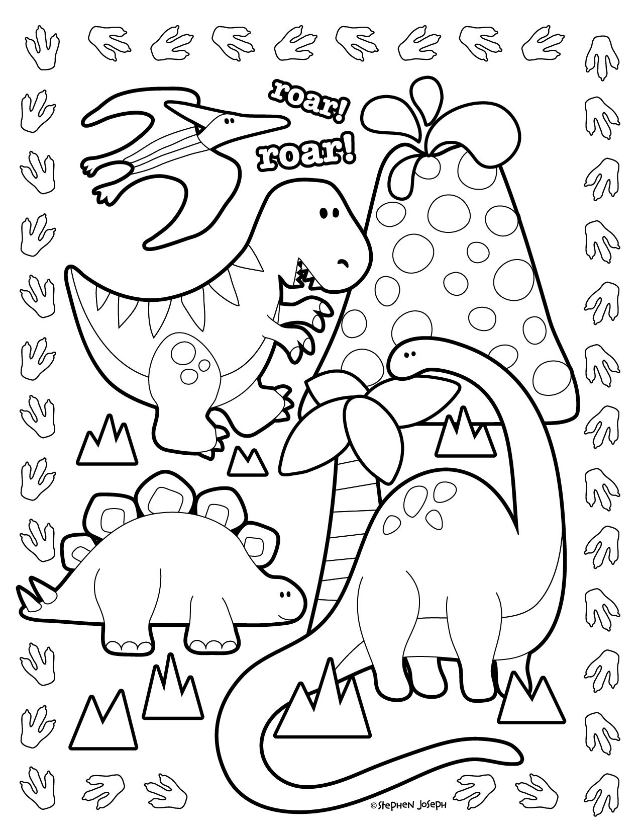 Dino Coloring Page - Printable & Free! By Stephen Joseph Gifts ...