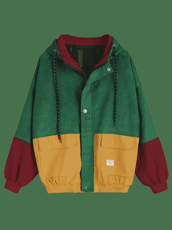 fdedae00cf550 Chaqueta de pana color block con capucha - Verde S