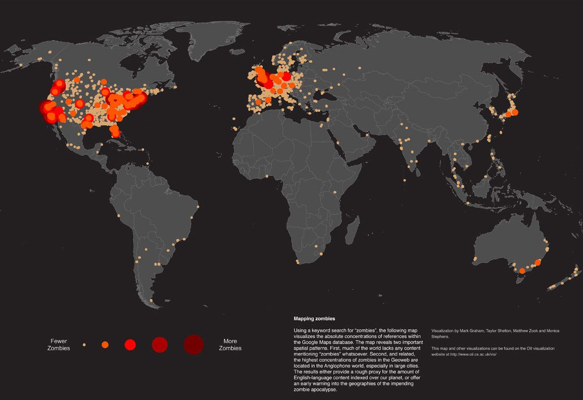 World Map Of People Who Google 'Zombies' | For the hubby | Map ... on zombie outbreak map, zombie infection map, zombie survival city, zombie virus map, zombie pandemic full map, zombie survival bike, zombie survival map minecraft, zombie game maps, zombie city map, zombie survival sheet, zombie minecraft adventure maps,